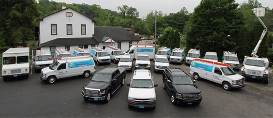 Our complete fleet ranging from fully stocked vans and pick-up trucks to our 45ft bucket truck.